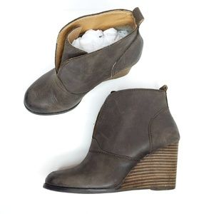 Lucky Brand Yinan Brown Leather Wedge Bootie 7.5.